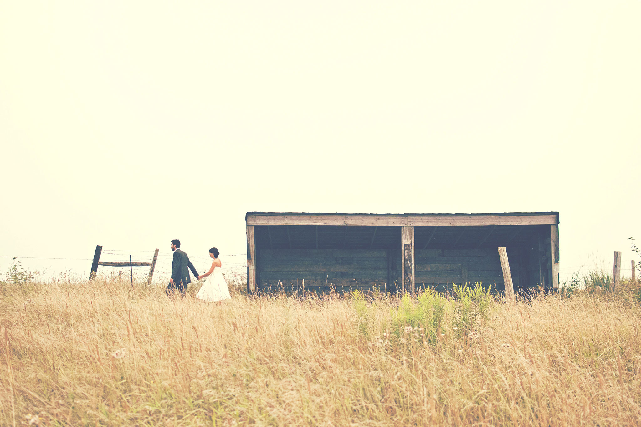 Wedding couple in grass field