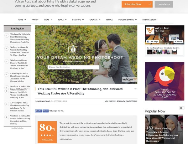 Screenshot of feature wedding photography website – OneThreeOneFour – on Vulcan Post