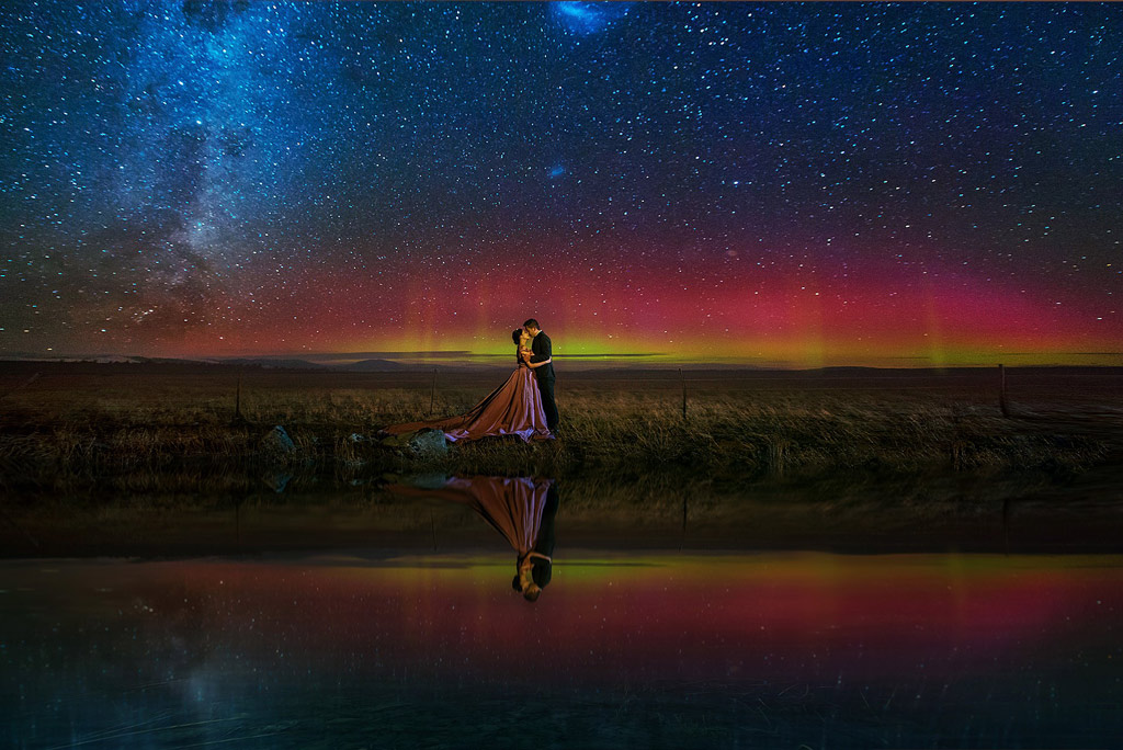 New Zealand South Island Aurora Starry Night Pre-Wedding Photography