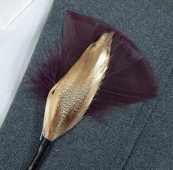 Groom accessories - Feather lapel pin