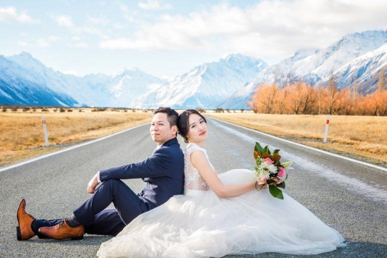 nueva zelanda foto de boda mt cook otoño